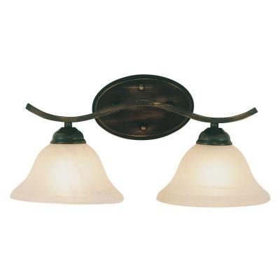 2-Light Rubbed Oil Bronze Bath Bar Light with White Marbleized Shade