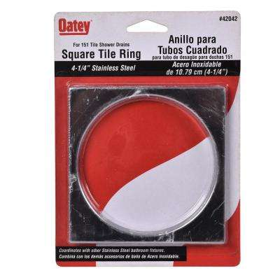 Oatey 4-1/4 in. Square Strainer Ring in Stainless Steel