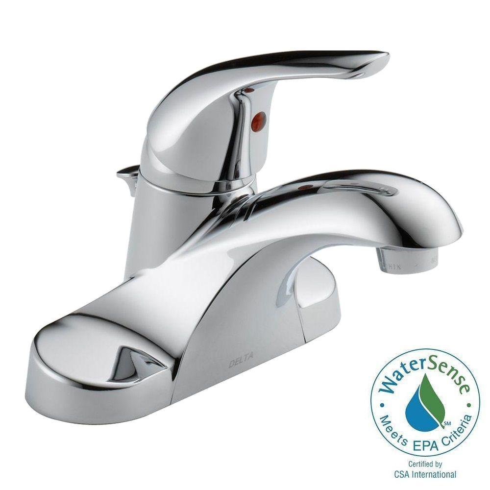 Kitchen Sink Faucets Home Depot: Delta Foundations 4 In. Centerset Single-Handle Bathroom