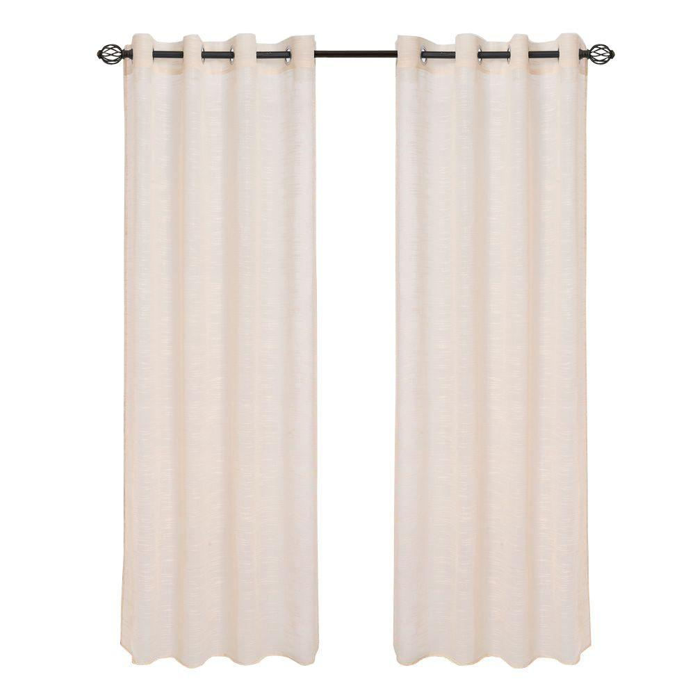 Lavish Home Beige Mia Jacquard Grommet Curtain Panel 108 In Length