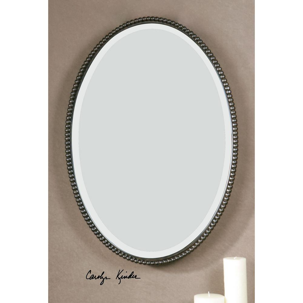 Global Direct 32 in. x 22 in. Bronze Oval Framed Mirror