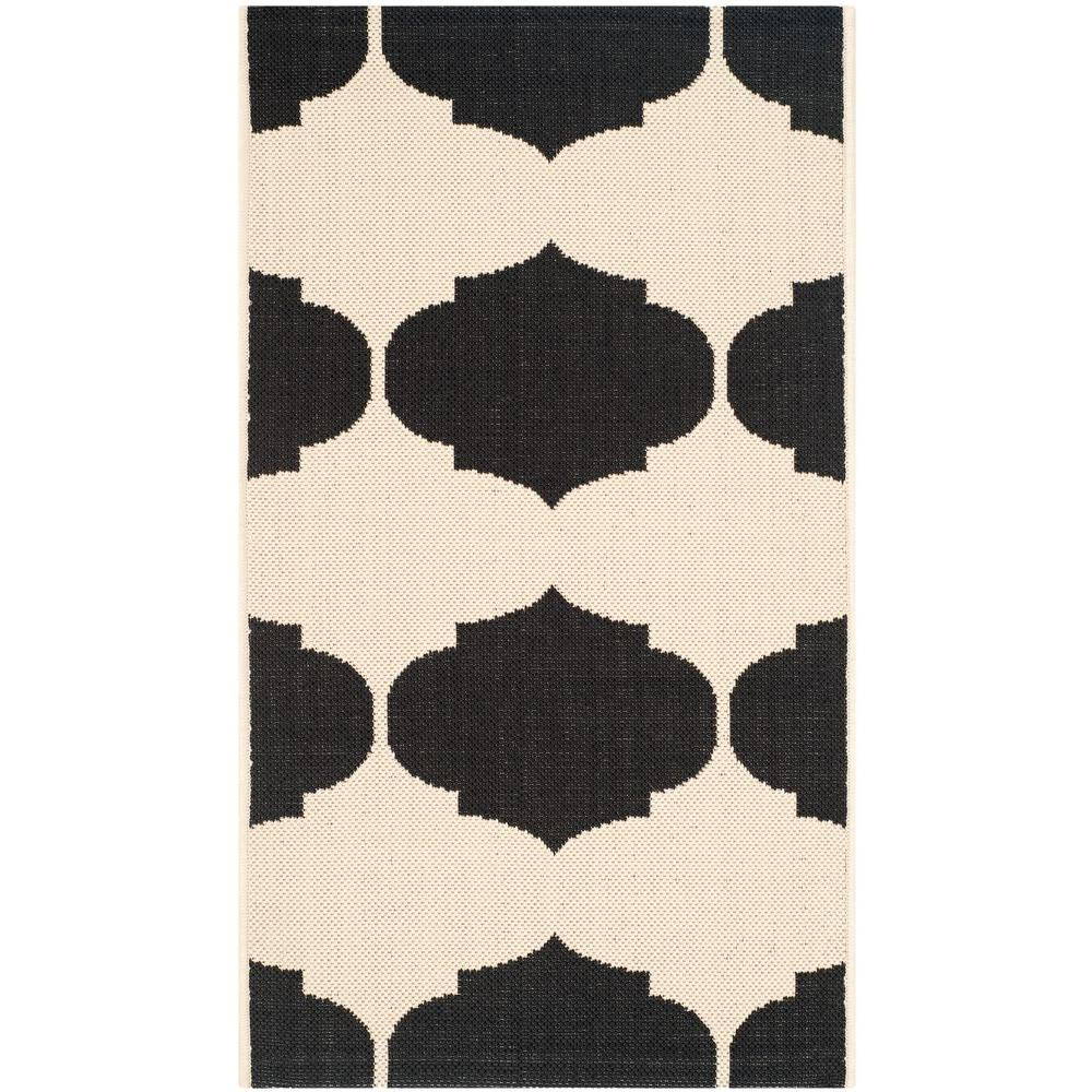 Safavieh Courtyard Beige/Black 2 ft. 7 in. x 5 ft. Indoor/Outdoor Area Rug