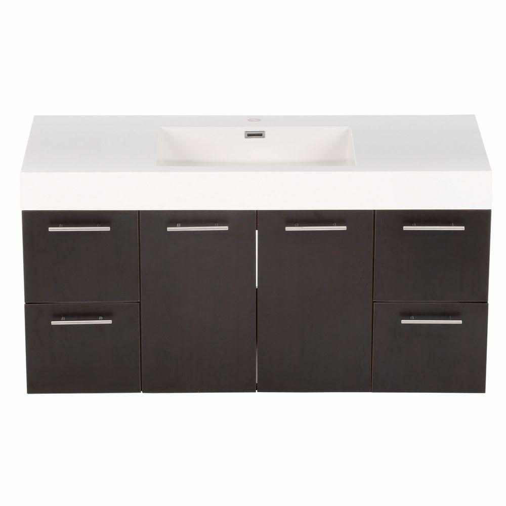 Wyndham Collection Amare 48 in. Vanity in Espresso with Acrylic-Resin Vanity Top in White and Integrated Sink