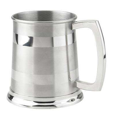 Dual 16 oz. Stainless Steel Satin Beer Mug