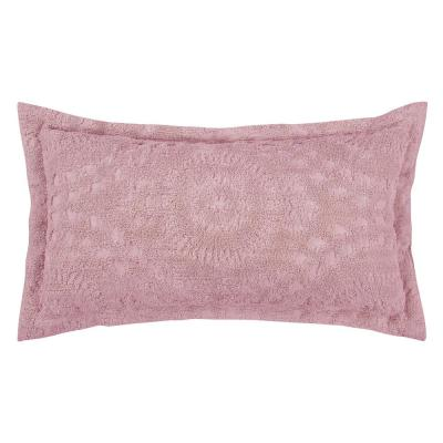 Rio Collection in Floral Design Pink King 100% Cotton Tufted Chenille Sham