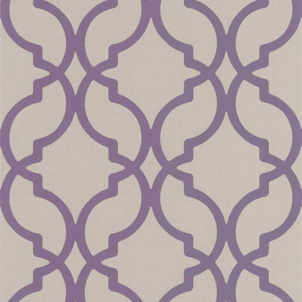 null Harira Purple Moroccan Trellis Wallpaper
