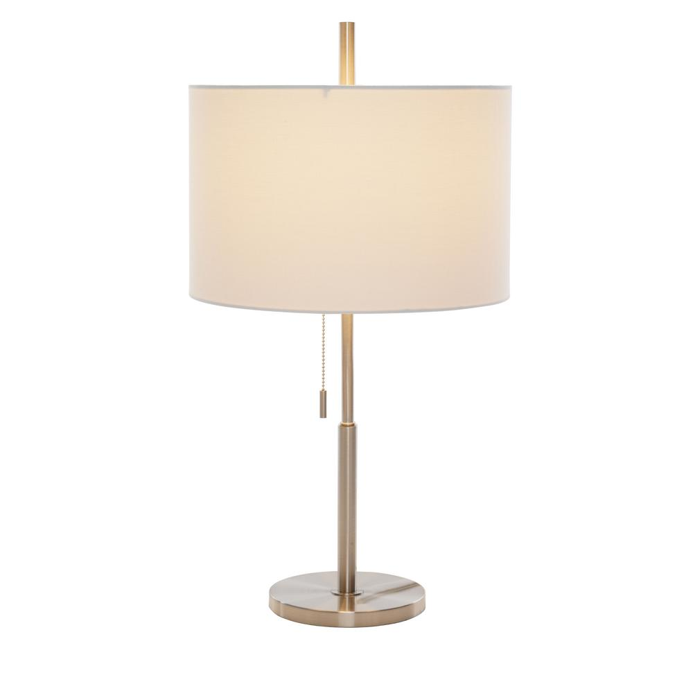 Brushed Nickel Table Lamp With White Linen Shade
