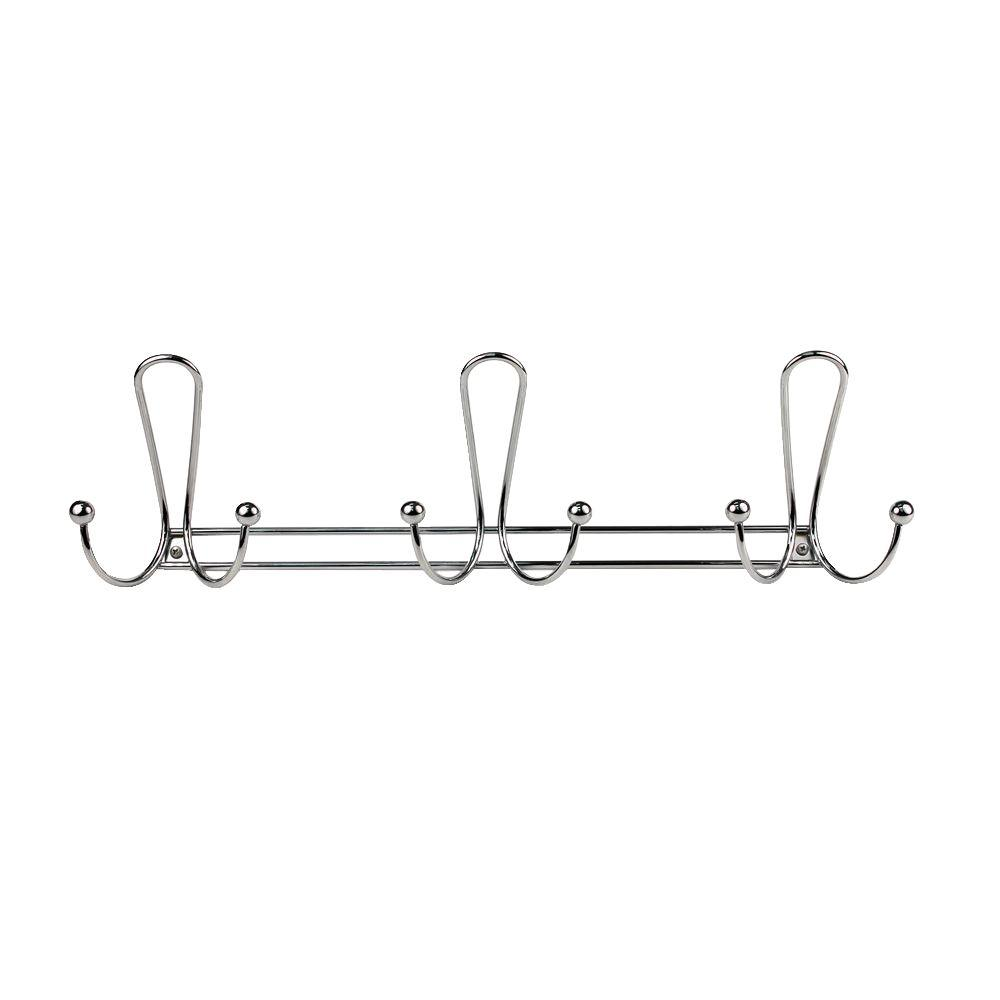 Chrome Quazar 20-3/4 in. L Decorative 9-Hook Wall Mount Rack
