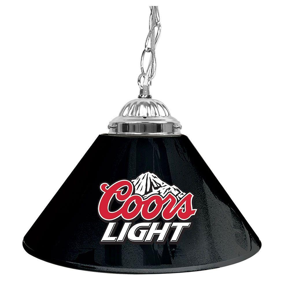 Trademark Global Coors Light 14 in. Single Shade Black Hanging Lamp