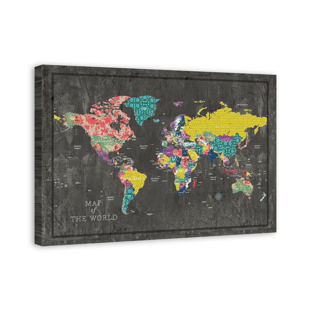 Designs direct 32 in x 48 in colorful world map printed canvas colorful world map gumiabroncs Gallery
