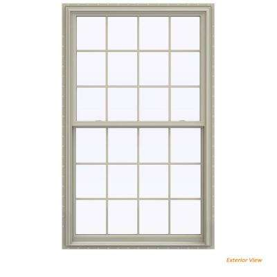 43.5 in. x 71.5 in. V-2500 Series Desert Sand Vinyl Double Hung Window with Colonial Grids/Grilles