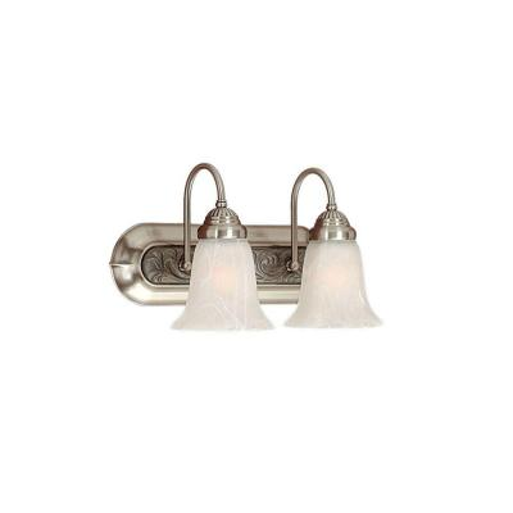 2-Light Satin Nickel/Granite Vanity Light with Alabaster Glass