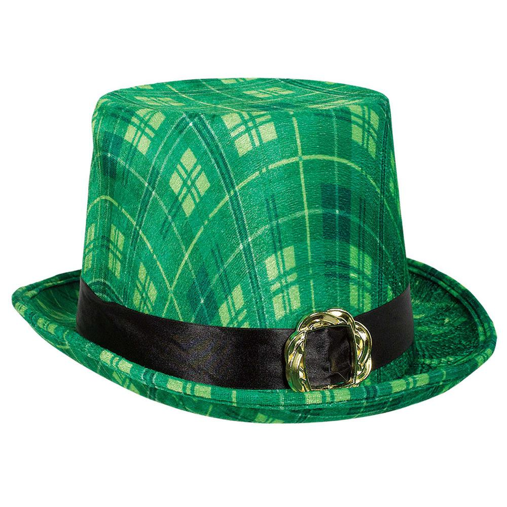 St Patricks Fedora Checkered Green Irish Fancy Dress Costume Accessory