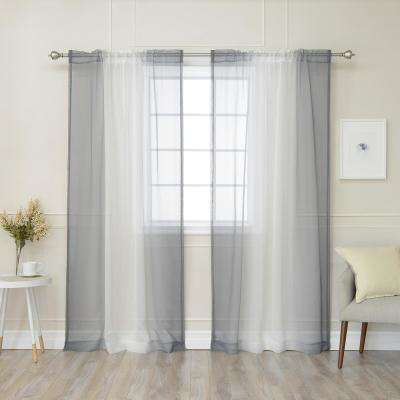 84 in. L Grey Sheer Faux Linen Rod Pocket Ombre Border Curtain (2-Pack)