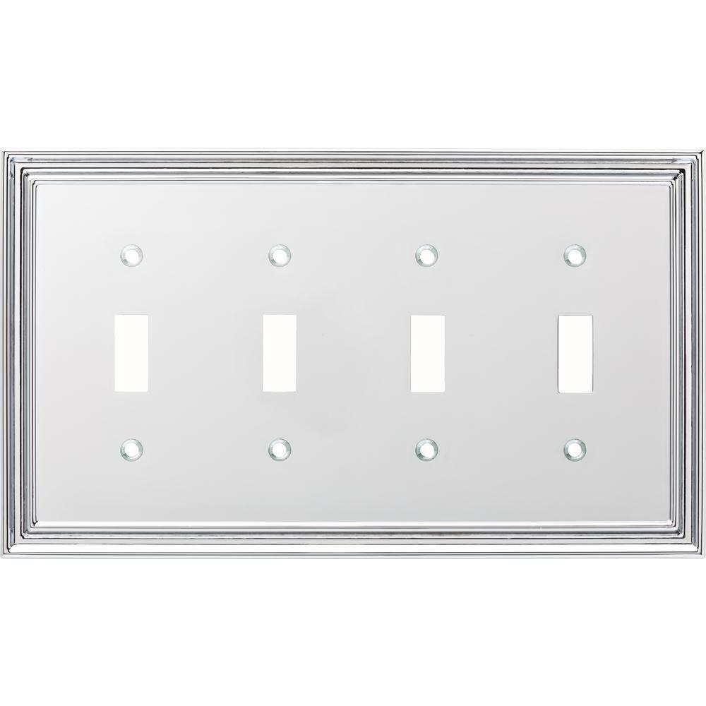 Liberty Silverton Decorative Quadruple Light Switch Cover, Polished Chrome