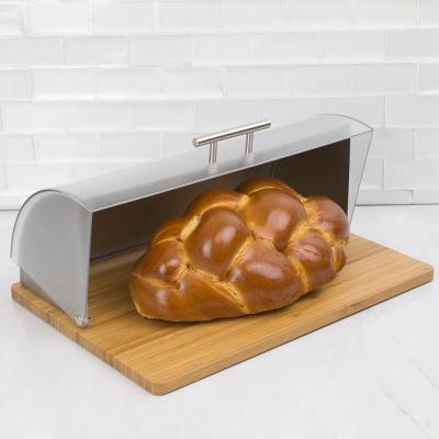 Bread Box with Wood Base and Acrylic Lid, Natural