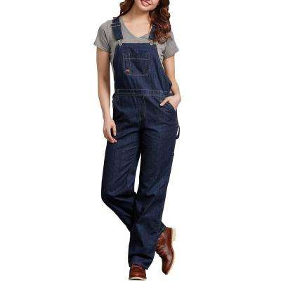 Women's Dark Indigo Relaxed Fit Straight Leg Bib Overalls - Unlined