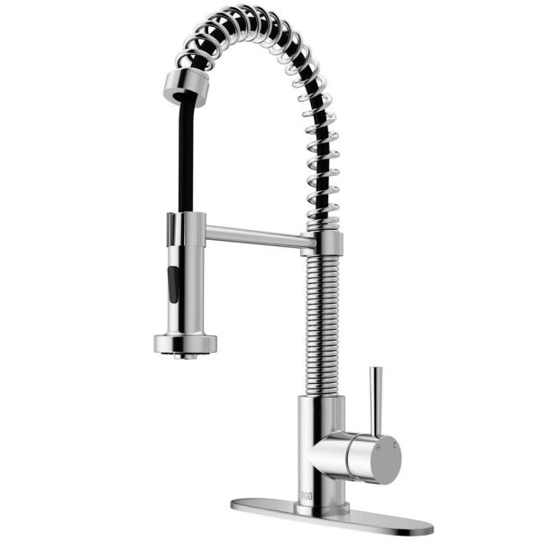 Edison Single-Handle Pull-Down Sprayer Kitchen Faucet with Deck Plate in Chrome