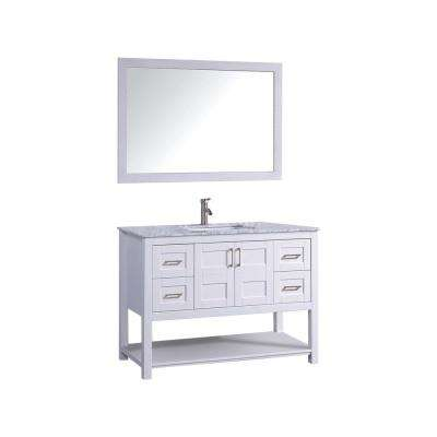 Norway 48 in. H x 22 in. D x 36 in. H Vanity in White with Marble Vanity Top in White with White Basin and Mirror