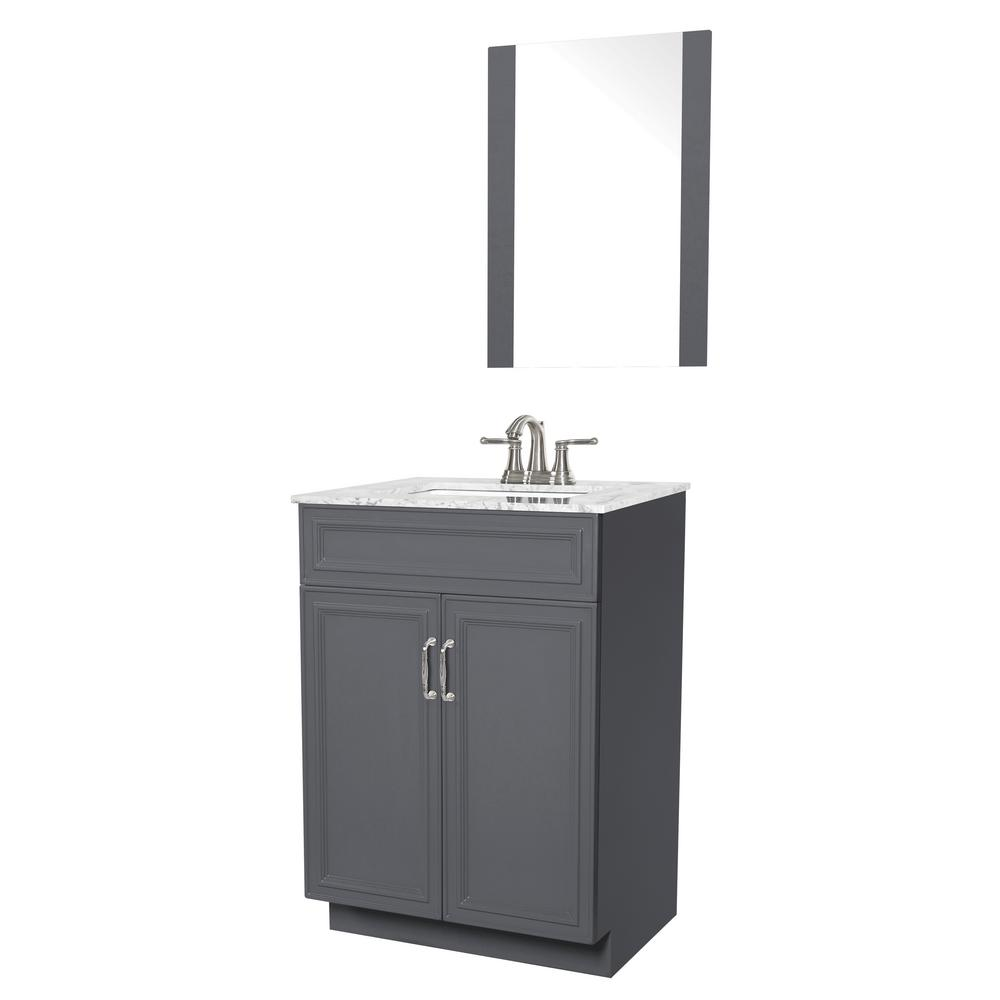 Sheffield Home Colette 24 in. W x 19 in. D Bath Vanity in Gray with Engineered Stone Vanity Top in Gray with White Basin and Mirror
