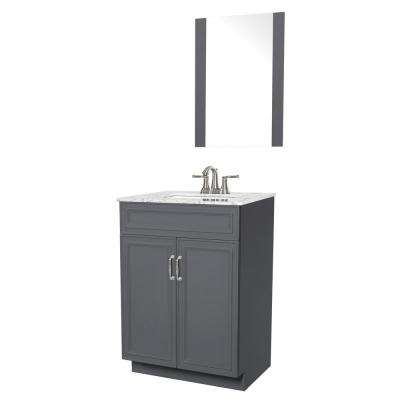 Colette 24 in. W x 19 in. D Bath Vanity in Gray with Engineered Stone Vanity Top in Gray with White Basin and Mirror