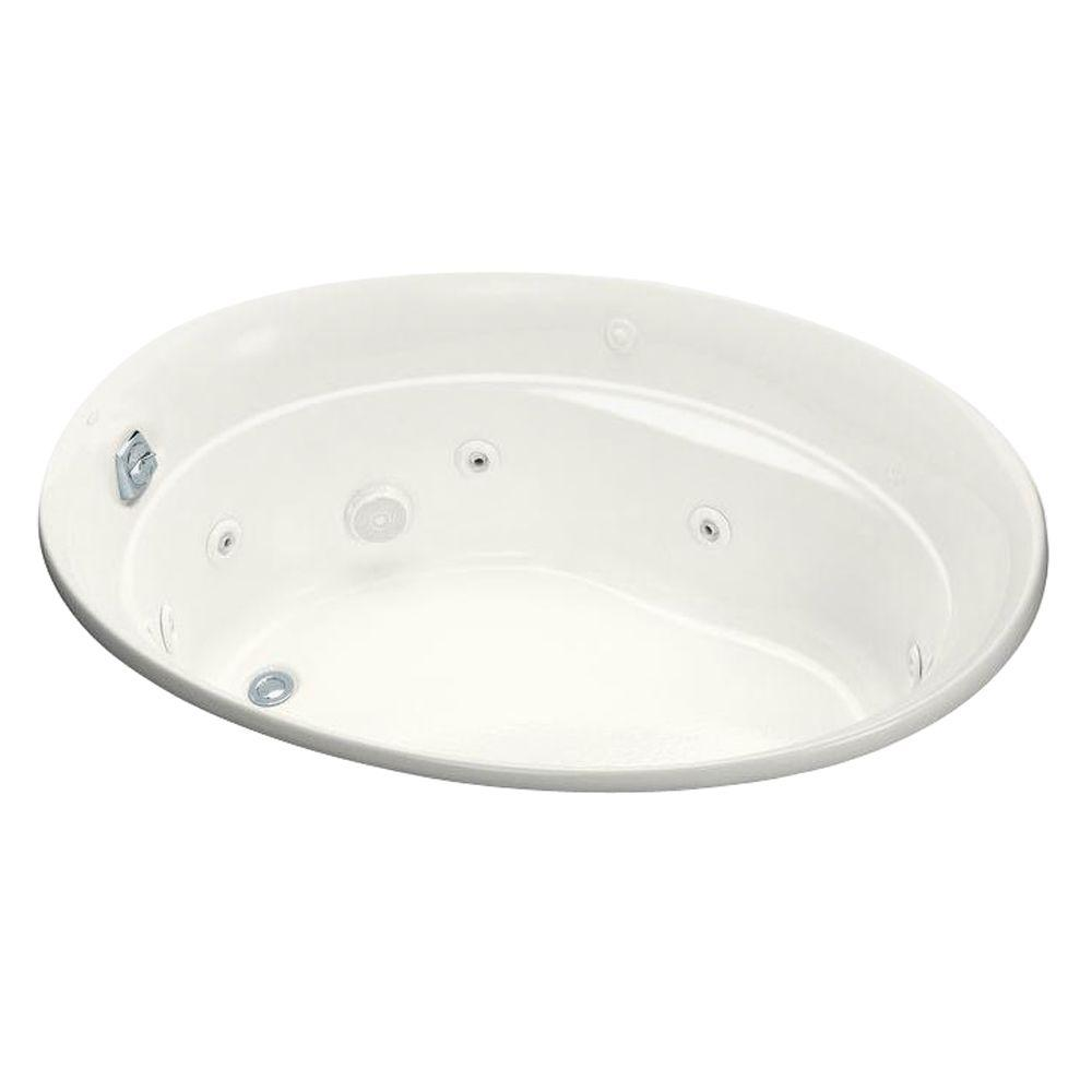 KOHLER Serif 5 ft. Whirlpool Tub with Heater and Reversible Drain in White with Heater