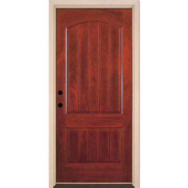 37.5 in. x 81.625 in. 2-Panel Plank Cherry Mahogany Stained Right-Hand Inswing Fiberglass Prehung Front Door