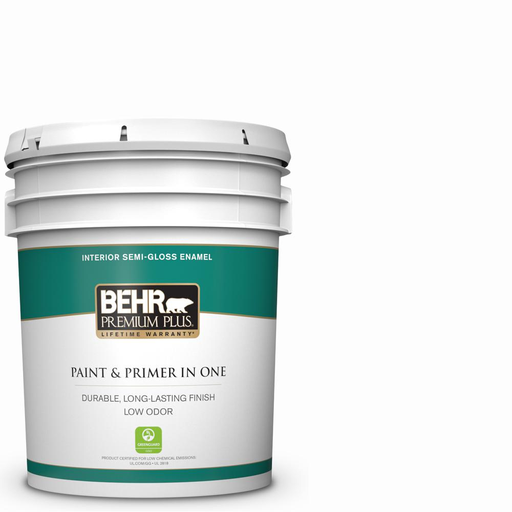 5 Gal Ultra Pure White Semi Gloss Enamel Low Odor Interior Paint And Primer In One