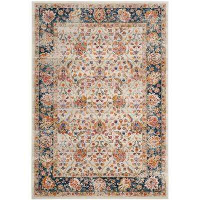 Madison Cream/Navy 6 ft. 7 in. x 9 ft. 2 in. Area Rug