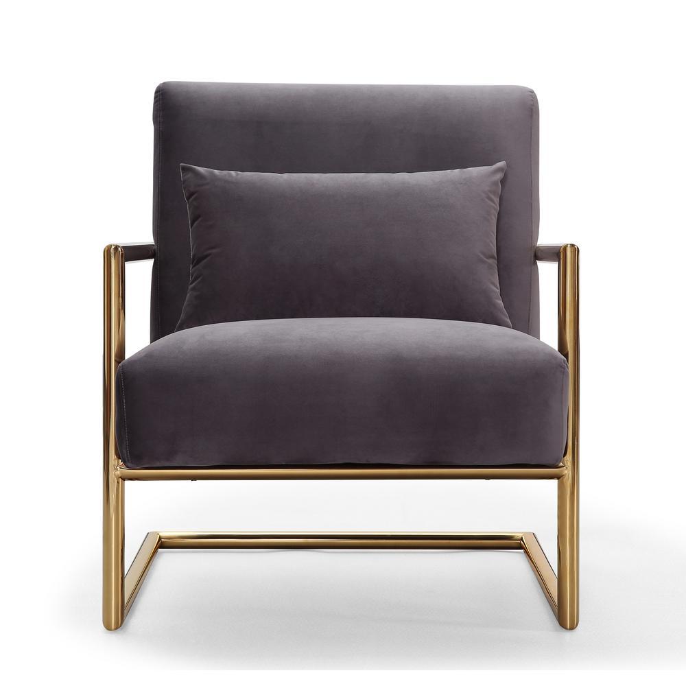 TOV Furniture Elle Grey Velvet Chair