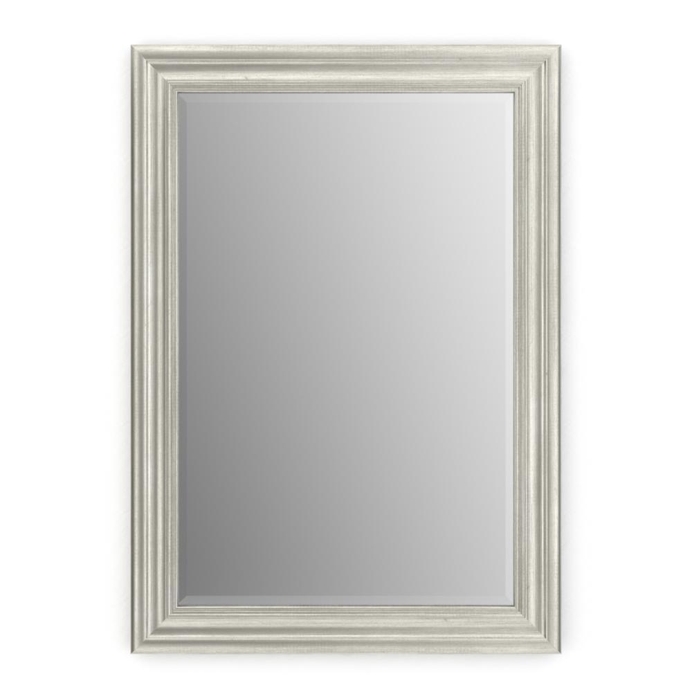 33 in. W x 47 in. H (L1) Framed Rectangular Deluxe Glass Bathroom Vanity Mirror in Vintage Nickel