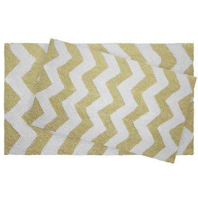 Reversible Cotton Soft Zigzag Banana 2-Piece Bath Mat Set