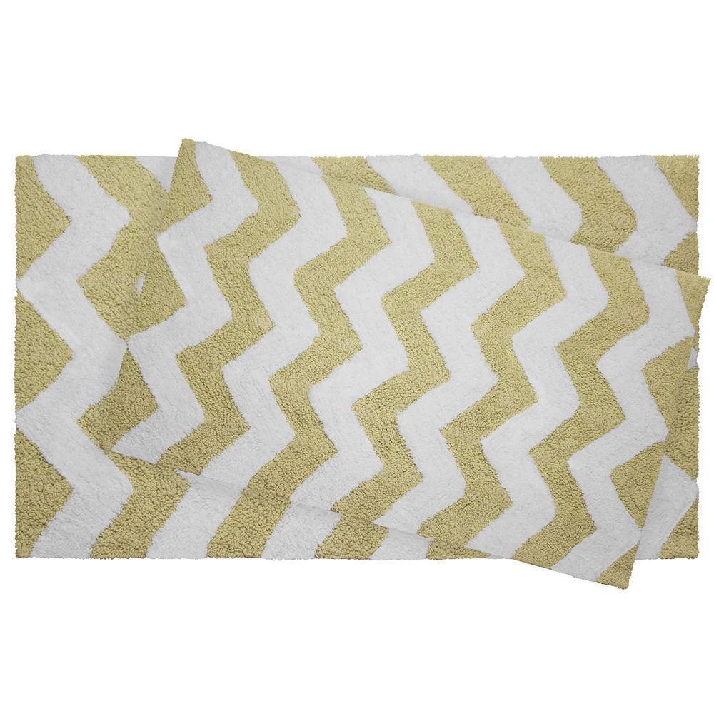 Reversible Cotton Soft Zigzag Banana 2-Piece Bath Mat Set