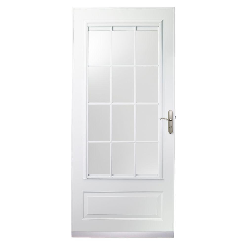 null 32 in. x 80 in. 400 Series White Aluminum Colonial Self-Storing Storm Door with Nickel Hardware-DISCONTINUED