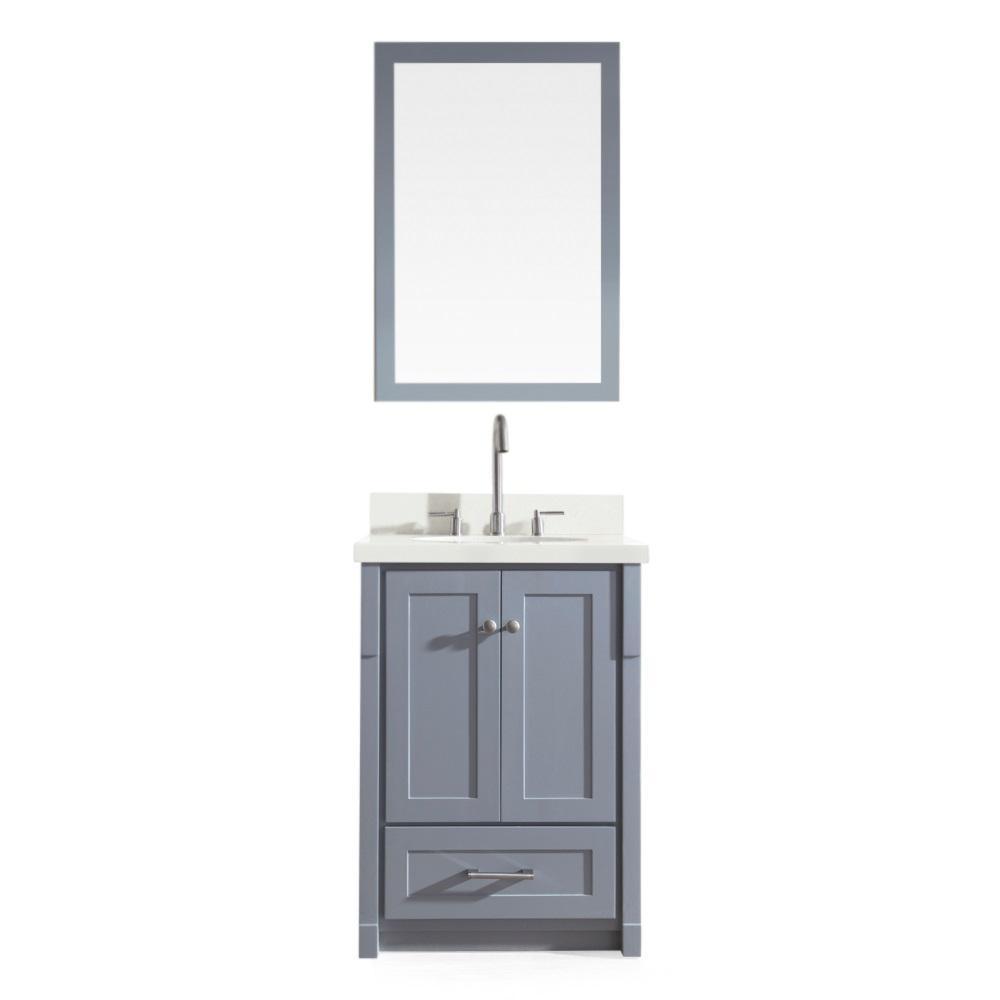 Adams 25 in. Bath Vanity in Grey with Quartz Vanity Top in Speckled White, Under-Mount Basin and Mirror