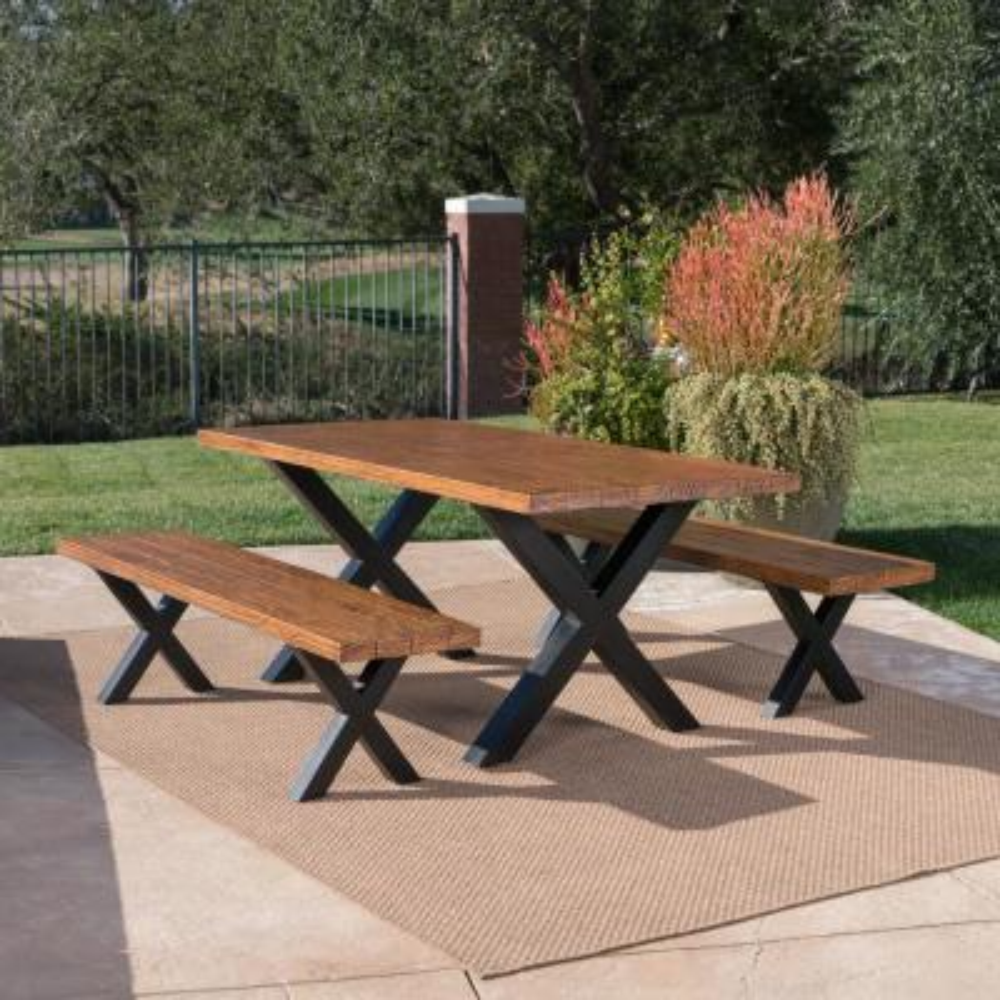 Islamadora Brown Walnut 3-Piece Stone Rectangle 29.75 in. Outdoor Dining Set