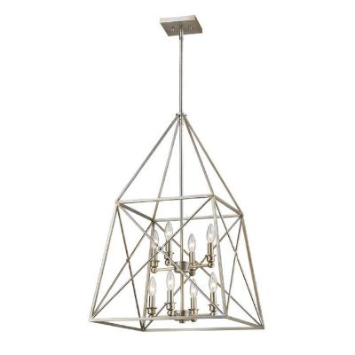Avram 8-Light Antique Silver Pendant with Antique Silver Steel Shade