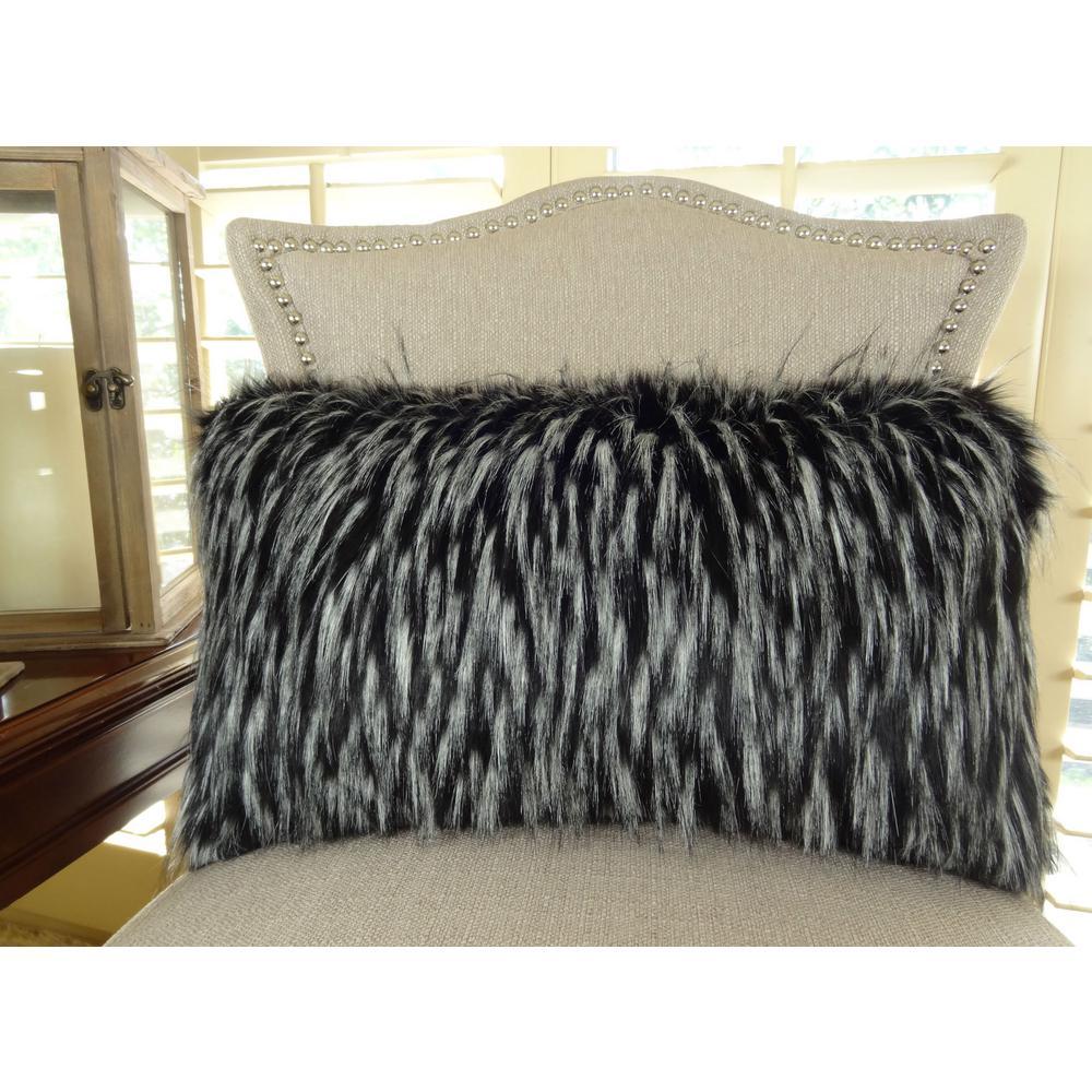 Wolf Fur 12 in. x 20 in. Black White Hypoallergenic Down Alternative Handmade Throw Pillow