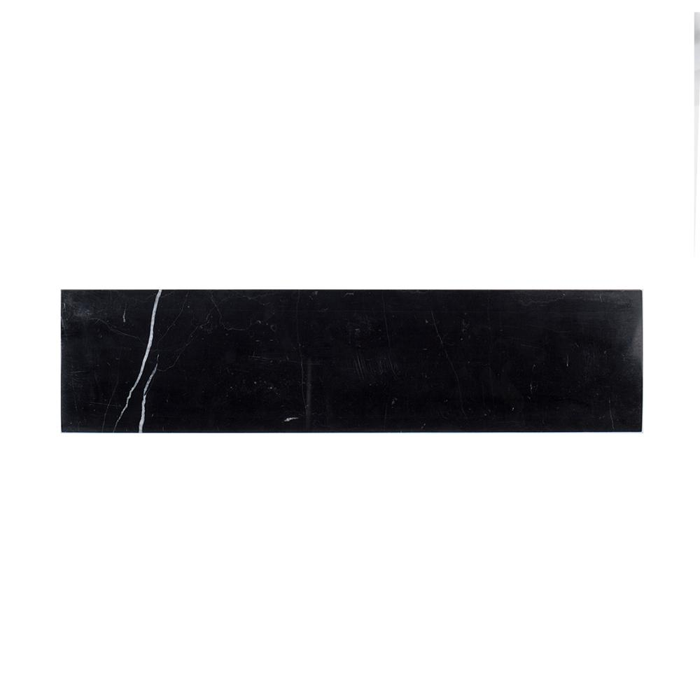 Nero Marquina 4 in. x 16 in. Polished Marble Field Wall