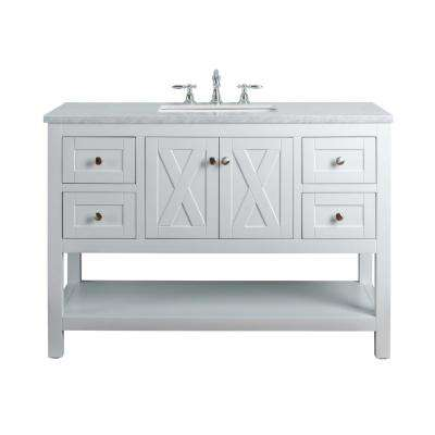 Anabelle 48 in. White Single Sink Bathroom Vanity with Marble Vanity Top and White Basin