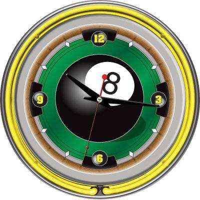 14 in. Rack'em 8 Ball Neon Wall Clock
