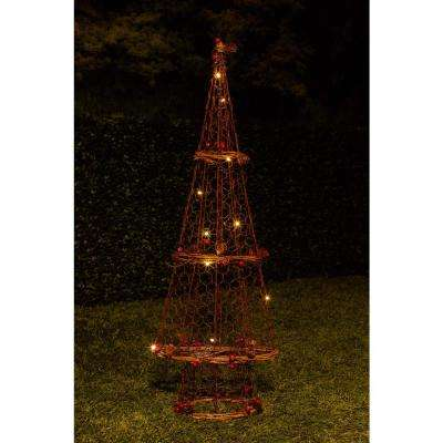 23 in. H Rattan Light-up Christmas Tree Decor
