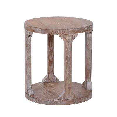 22 in. Beige Round Rustic Coffee Table Solid Wood Coffee Table with Dusty Wax Coating