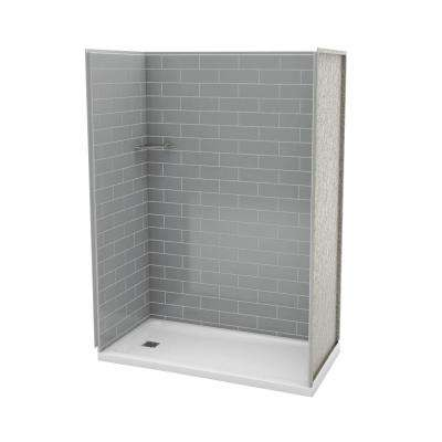 Utile Metro 32 in. x 60 in. x 83.5 in. Alcove Shower Stall in Ash Grey with Left Drain Base in White