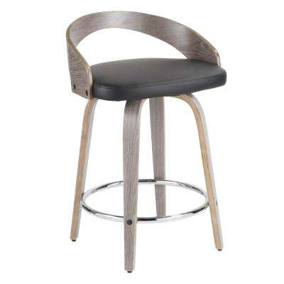 Grotto 24 in. Light Grey Wood and Black Faux Leather Counter Stool