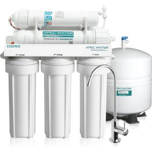 Click here to buy APEC Water Systems Essence Under Counter Reverse Osmosis UV Disinfecting 75 GPD 6-Stage Drinking Water Filtration System by APEC Water Systems.