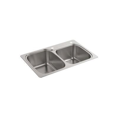 Verse Drop-In Stainless Steel 33 in. 2-Hole Double Bowl Kitchen Sink