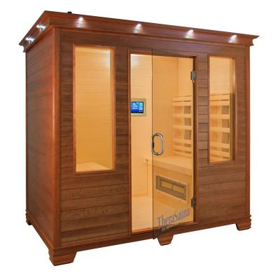4-Person Face to Face Infrared Health Sauna with MPS Touchview Control, Aspen Wood and 12 TheraMitter Heaters