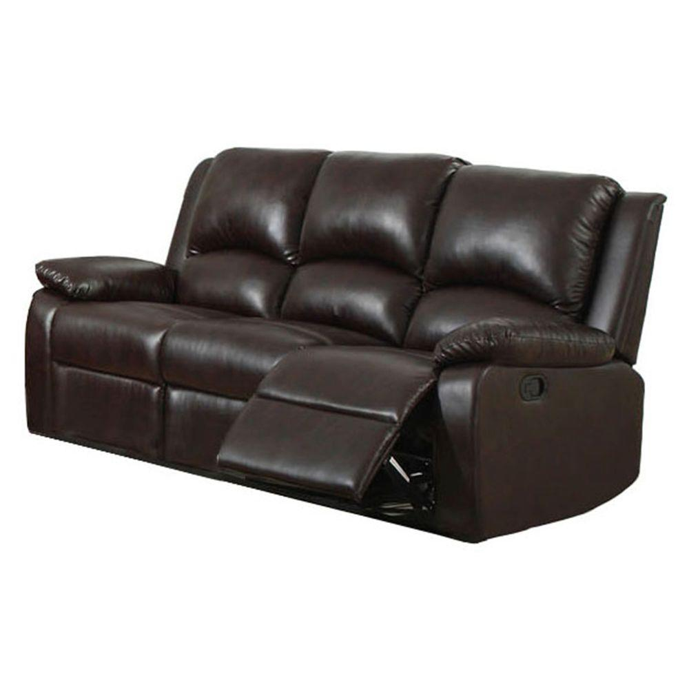 Furniture Of America Oxford Rustic Dark Brown Faux Leather Sofa