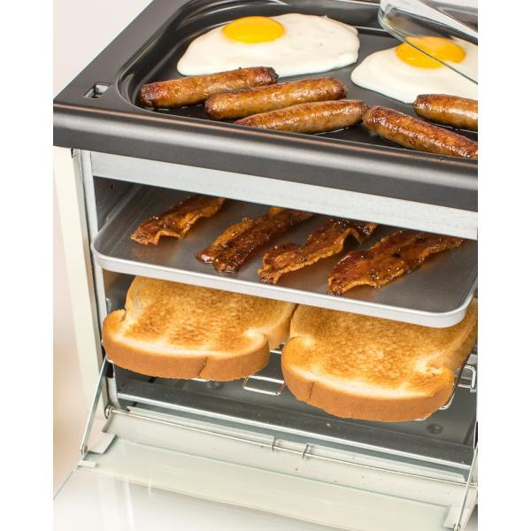 Griddle And Coffee Maker Nostalgia 3-in-1 Bisque Breakfast Station Toaster Oven